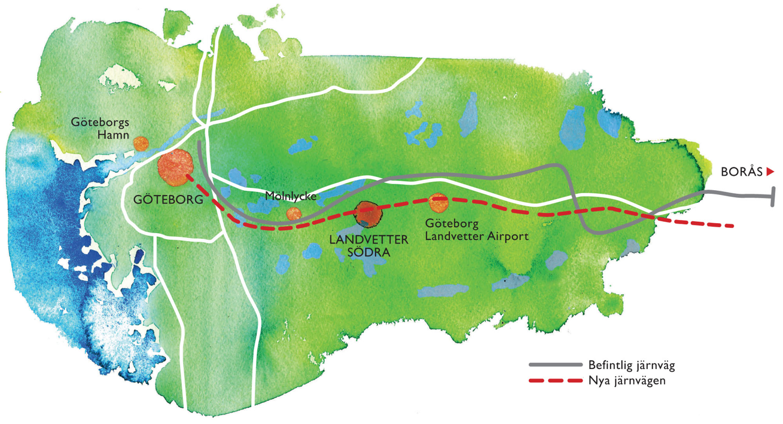 Karta Landvetter södra